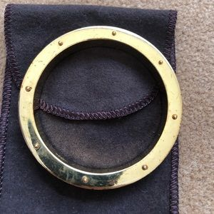 JCREW Gold tone Bangle with Leather Trim
